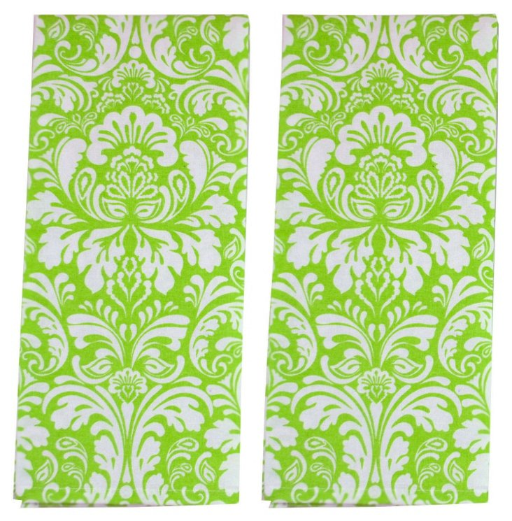 S/2 Damask Dish Towels, Cucumber