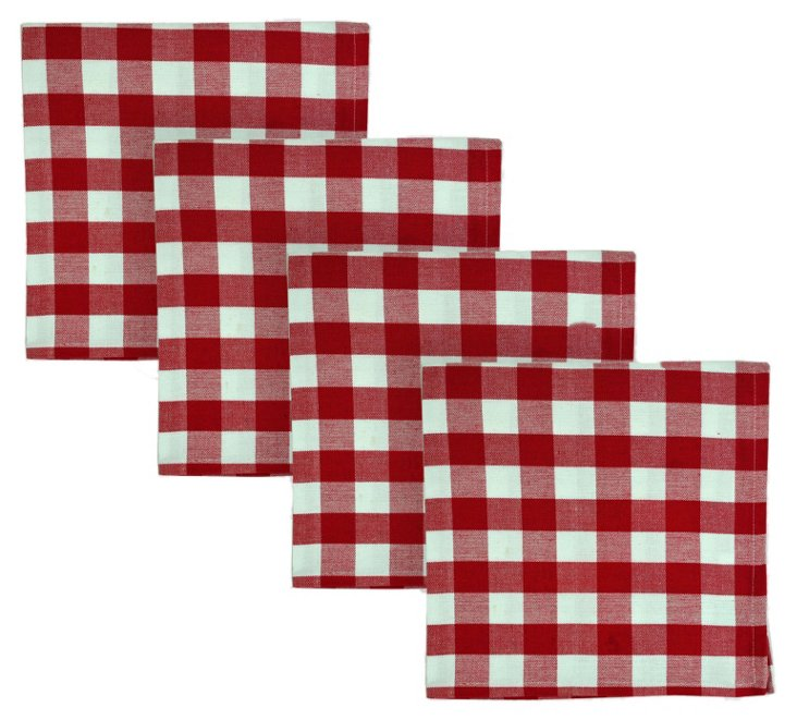 S/4 Check Napkins, Red
