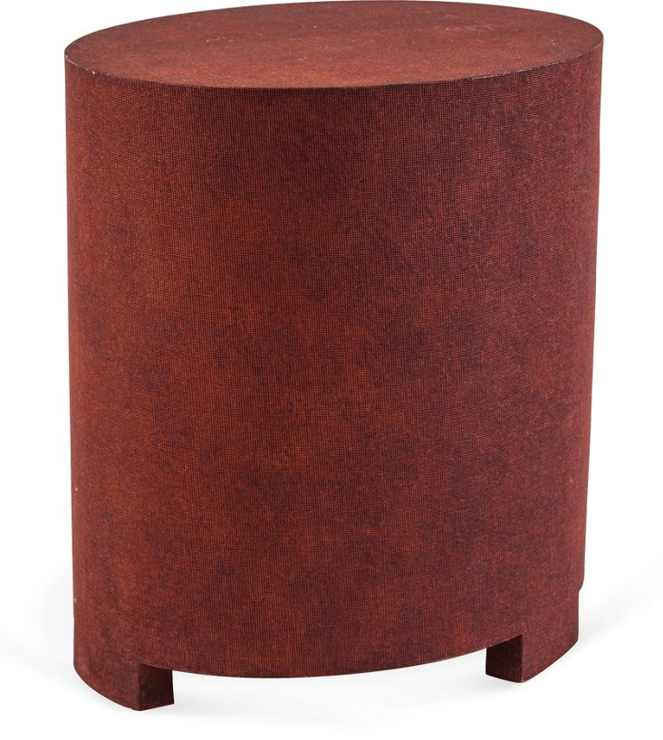 Red Linen Cocktail Table