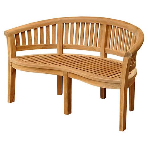"Curve 64"" Garden Bench, Teak"