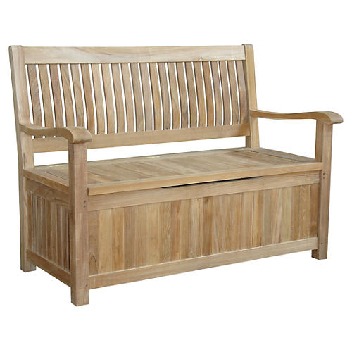 "Eliza 48"" Storage Bench, Teak"
