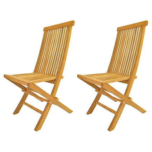 Classic Folding Chairs, Pair
