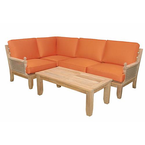 Luxe Modular 5-Pc Lounge Set, Orange Sunbrella
