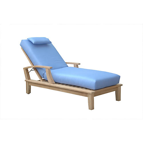 Brianna Sun Lounger, Natural/Light Blue