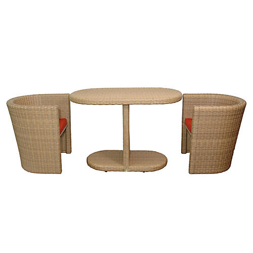 Barcelona 3-Pc Dining Set, Red Sunbrella