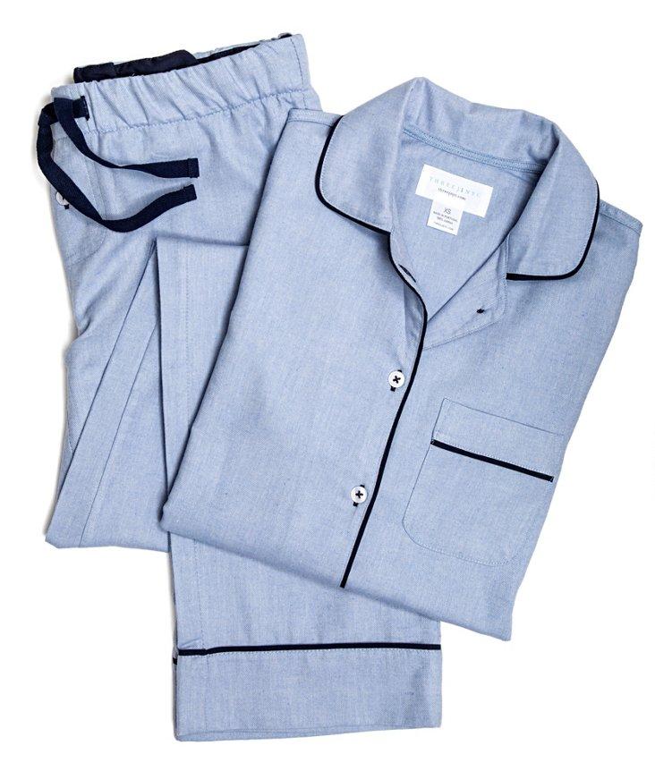 Jamie Flannel Pajama Set, Chambray