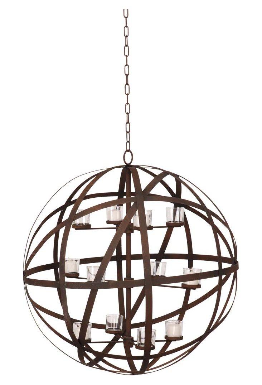 Spherical Metal Candle Chandelier, Brown