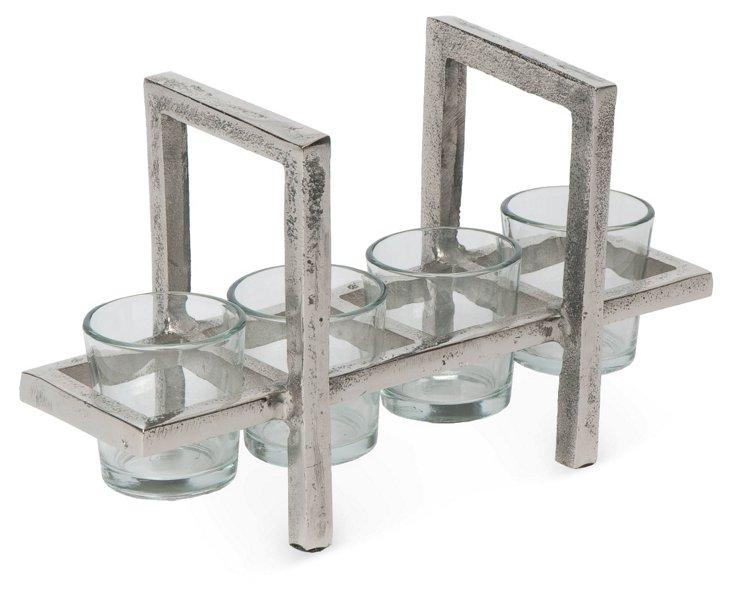 Aluminum & Glass 4-Votive Holder