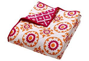 Moksha Ziz Medallion Quilt, Pink/Orange