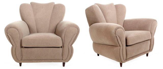 Mahogany & Mohair Club Chairs, Pair