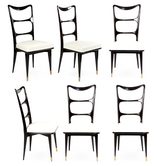 Black Lacquer Dining Chairs, Set of 6