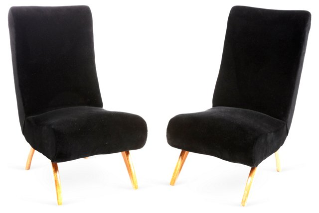 Midcentury Slipper Chairs, Pair