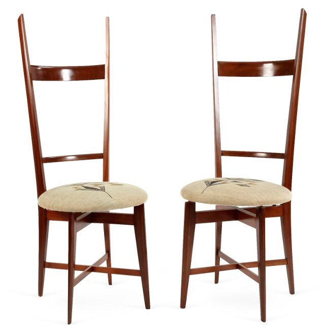 High-Back Side Chairs, Pair
