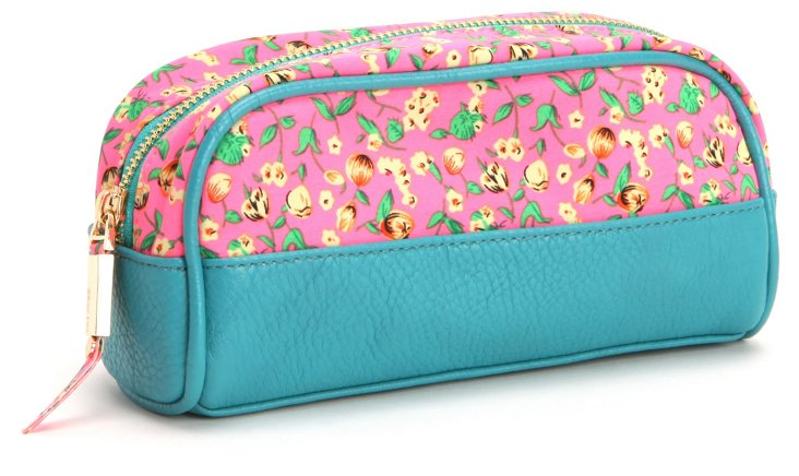 Fitz Brush Case, Aqua/Pink