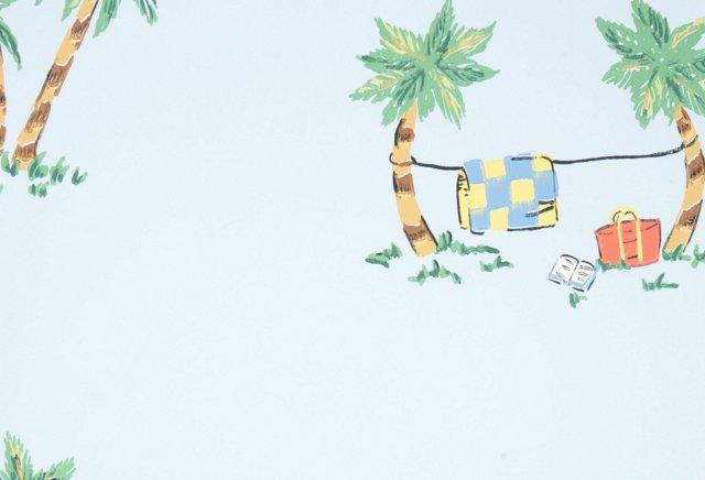 Laundry Daze Wallpaper, Blue