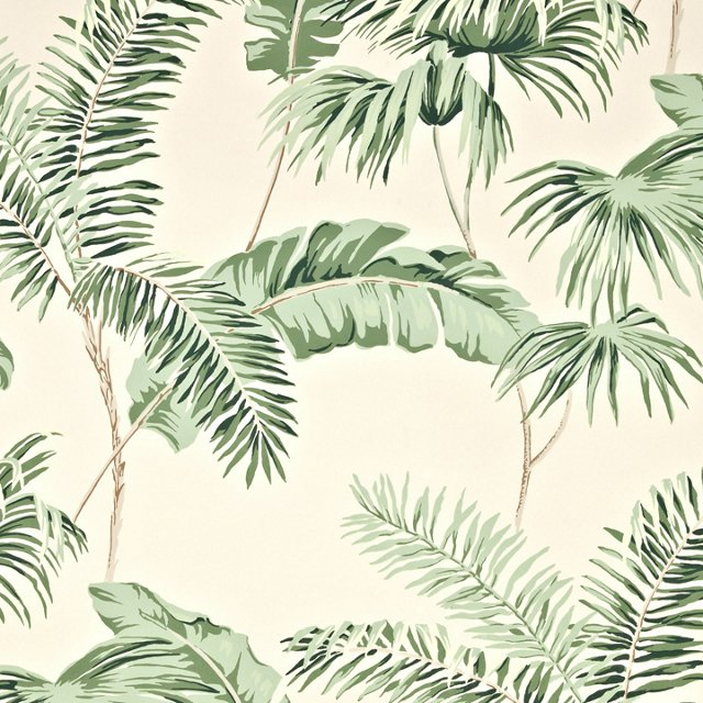 Negril Wallpaper, Cream/Green