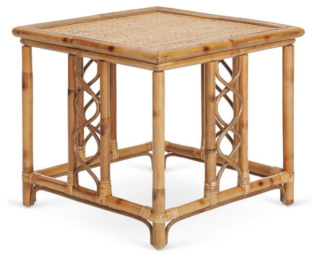 Lenox Rattan Side Table, Honey