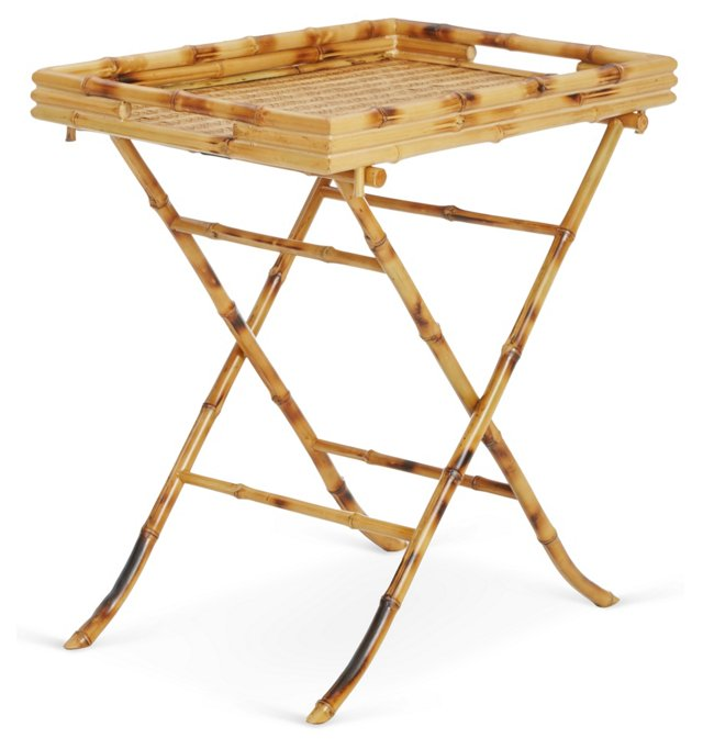 Bevin Rattan Tray Table, Natural