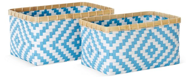 Asst of 2 Geometric Baskets, Blue