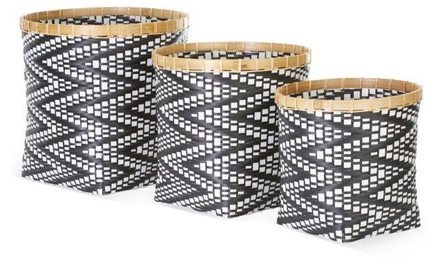 Asst of 3 Zigzag Baskets, Black/White