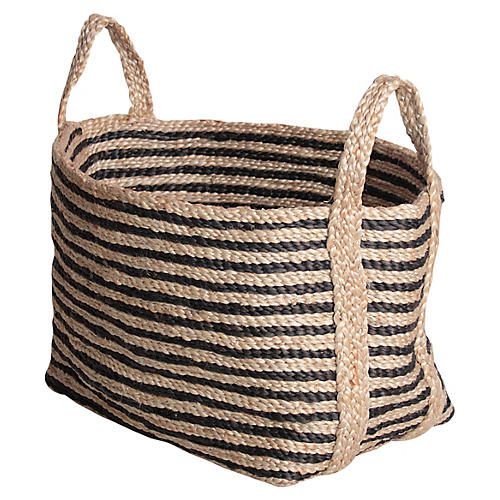 Small Jute Floor Basket, Charcoal Stripe