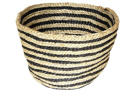 Jute Bowl Striped, Charcoal Stripe