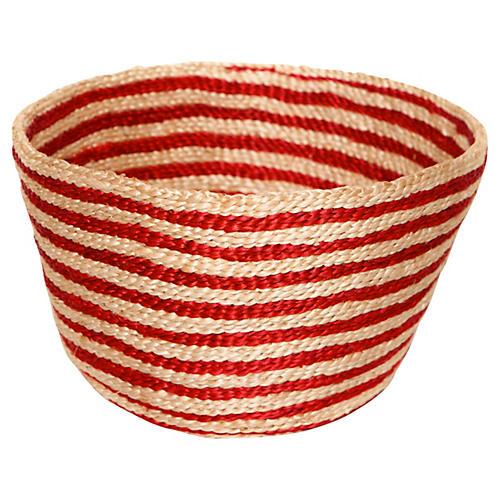 Jute Bowl Striped, Red Stripe