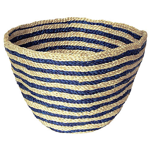 Jute Bowl Striped, Indigo Stripe