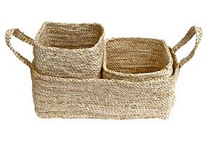 Trio of Jute Storage Baskets