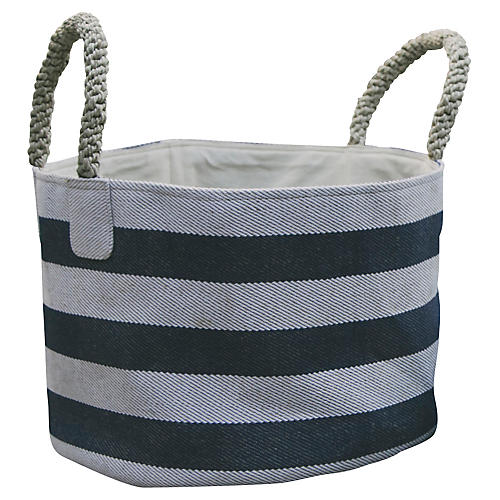 Pacific Wide Stripes Basket, Blue/White