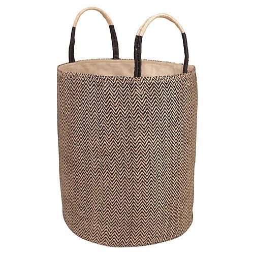 Loomed Basket, Black Herringbone