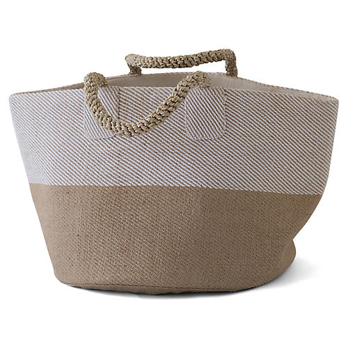 "15"" Pacific Two-Tone Basket, Natural/White"