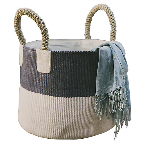 "15"" Pacific Two-Tone Basket, Blue/White"