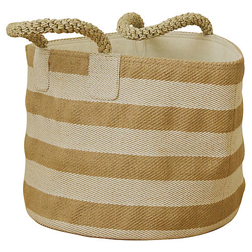 "15"" Pacific Wide Stripes Basket, Natural/White"