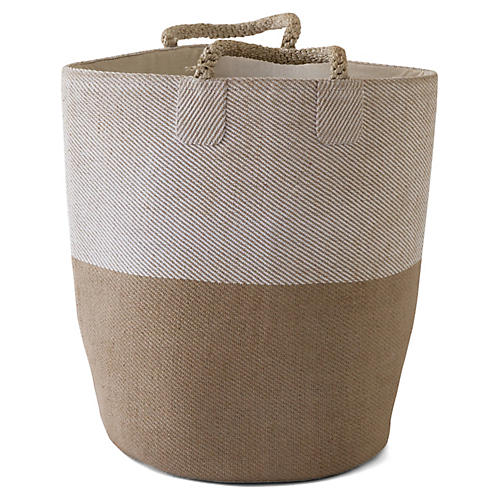 """19"""" Pacific Laundry Two-Tone Basket, Natural/White"""