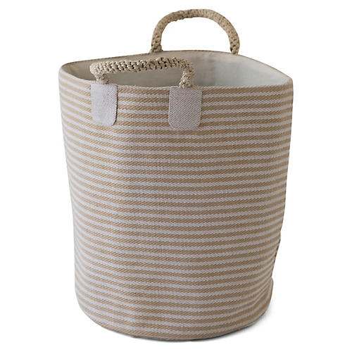 "19"" Pacific Laundry Thin Stripes Basket, Natural"
