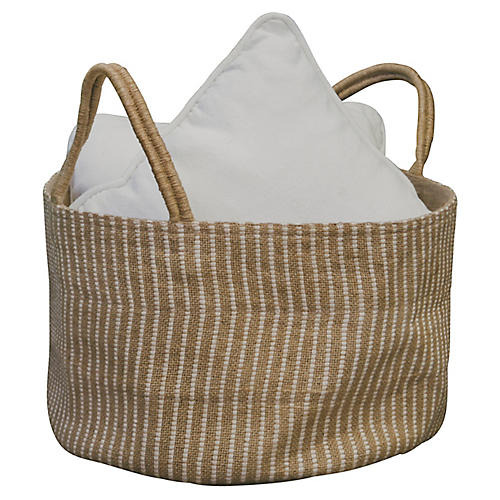 "15"" Medium Loomed Basket, White Stripes"