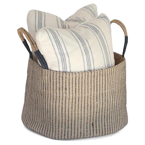 "15"" Medium Loomed Basket, Indigo Stripes"