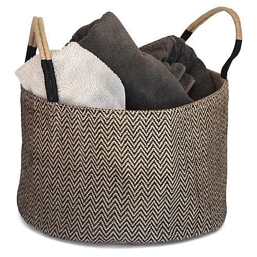 "15"" Medium Loomed Basket, Black Herringbone"