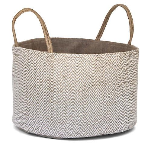 "15"" Medium Loomed Basket, White Herringbone"