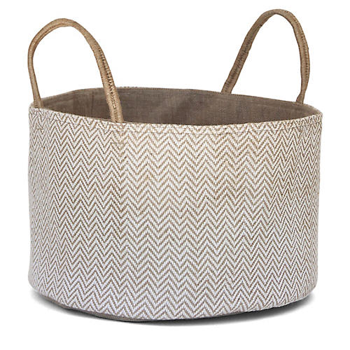 "15"" Medium Loomed Basket, White Herringbone"