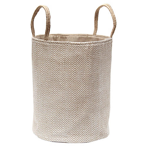 "19"" Loomed Basket, White Herringbone"