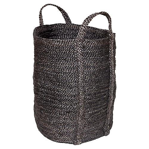 "21"" Jute Laundry Basket, Charcoal"