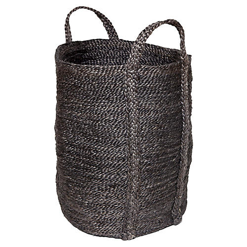 "21"" Jute Laundry Basket, Charcoal"