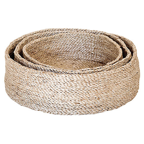 Asst. of 3 Trio of Round Baskets, Natural
