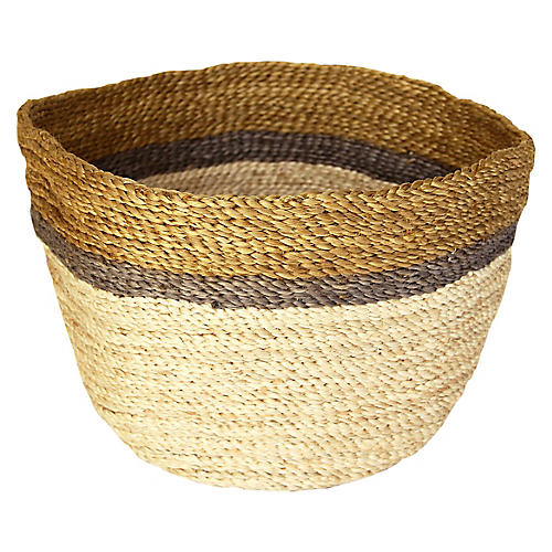 "14"" Jute Bowl, Natural/Multi"