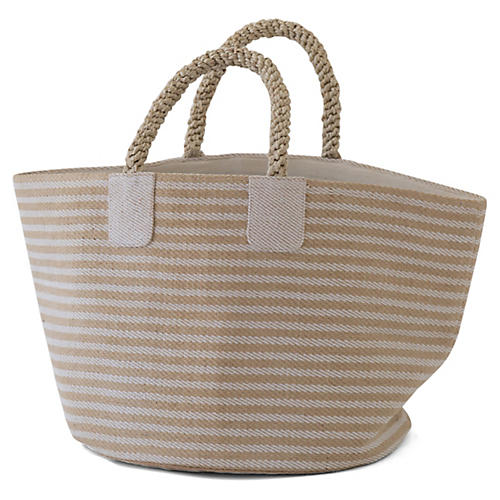 "15"" Pacific Thin Stripes Basket, Natural/White"