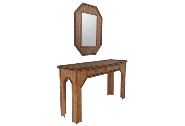 Rattan-Wrapped Console & Mirror