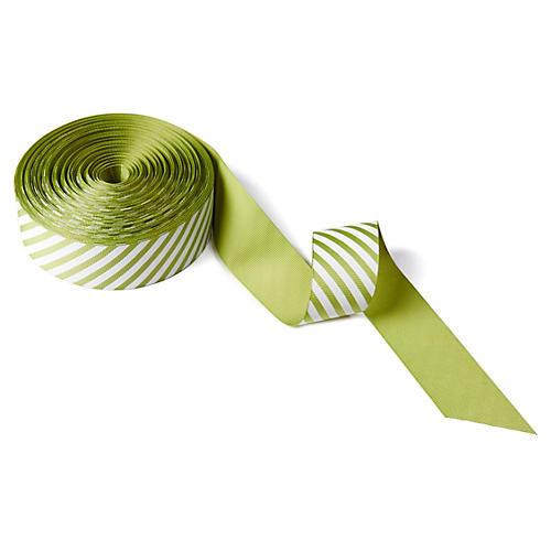 "1.5"" Ribbon, Light Green/White"
