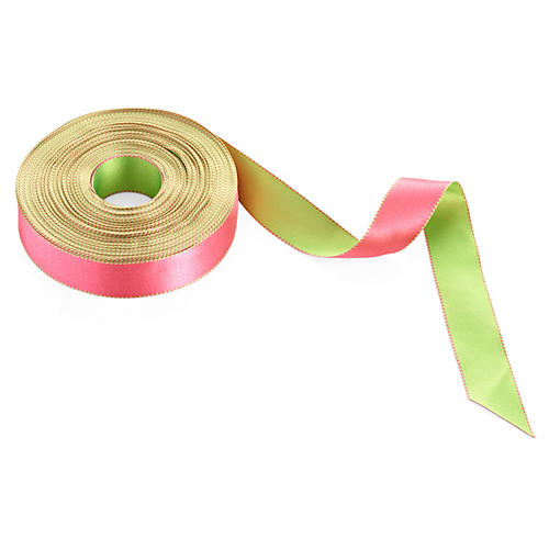 "1"" Reversible Satin Ribbon, Pink/Green"
